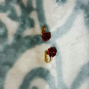 Red rose clip ons